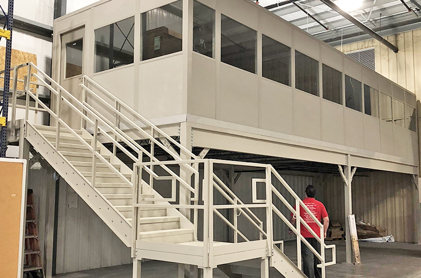 How Can a Mezzanine Help Increase Warehouse Storage, Productivity: Mezzanine with Office
