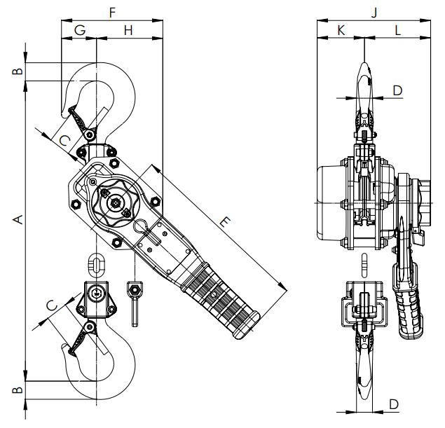 CM Series 653A Lever Hoist Drawing